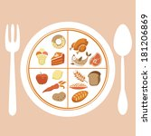 plate with separate food | Shutterstock . vector #181206869