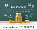 Small photo of Bottled coins and life planning scale and life event pictograms drown on blackboard