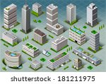 isometric building city palace... | Shutterstock . vector #181211975