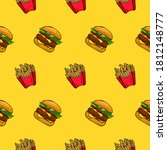 seamless pattern of fries and... | Shutterstock .eps vector #1812148777