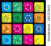 circular arrow flat icon set  | Shutterstock .eps vector #181215611