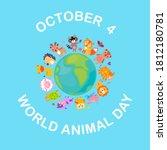world animal day on october 4... | Shutterstock . vector #1812180781