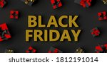 text black friday with gifts ... | Shutterstock . vector #1812191014