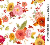 autumn watercolor flowers... | Shutterstock .eps vector #1812210217