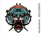 the angry tiger tattoo vector...   Shutterstock .eps vector #1812228361