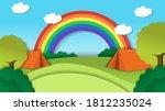 rainbow view landscape... | Shutterstock .eps vector #1812235024