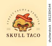 Sugar Skull Taco Mexican Logo...