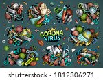 colorful vector hand drawn...   Shutterstock .eps vector #1812306271