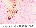 two woman hands with perfect... | Shutterstock . vector #1812349687