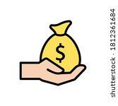 hand  sack  money icon. simple...
