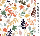 seamless pattern with acorns...   Shutterstock .eps vector #1812378811