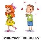 boy likes girl  children in... | Shutterstock .eps vector #1812381427