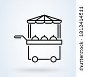 Food Stall Line Icon  Outline...