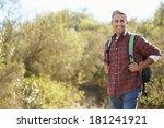 portrait of man hiking in... | Shutterstock . vector #181241921