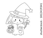 little halloween witch with... | Shutterstock .eps vector #1812419341