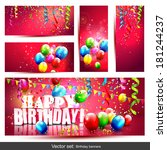 vector set of five colorful... | Shutterstock .eps vector #181244237