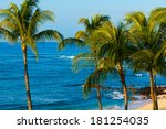 palm trees overlooking the... | Shutterstock . vector #181254035