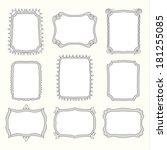 set of doodle frames and...   Shutterstock . vector #181255085