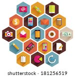 set of flat style icons.... | Shutterstock .eps vector #181256519