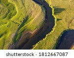 Aerial View Of Winding River....