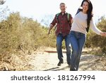 couple hiking in countryside... | Shutterstock . vector #181267994