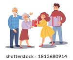 a young family gives gifts to... | Shutterstock .eps vector #1812680914