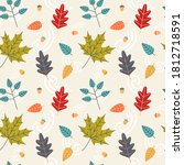 autumn leaves foliage seamless... | Shutterstock .eps vector #1812718591