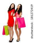two young shopping women...   Shutterstock . vector #181272419
