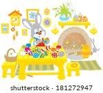 little bunny paints easter eggs | Shutterstock .eps vector #181272947