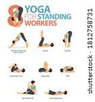 infographic 8 yoga poses for... | Shutterstock .eps vector #1812758731