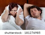 disgusted wife and her sleeping ... | Shutterstock . vector #181276985