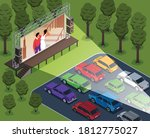 isometric open air cinema... | Shutterstock .eps vector #1812775027