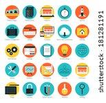 flat design icons set modern... | Shutterstock .eps vector #181281191
