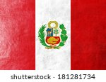 peru flag painted on leather... | Shutterstock . vector #181281734
