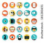 flat design icons set modern... | Shutterstock .eps vector #181283651