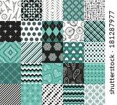 vector set of 25 seamless... | Shutterstock .eps vector #181287977