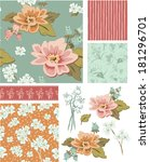 floral vector seamless patterns ... | Shutterstock .eps vector #181296701