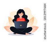 young woman sitting on the... | Shutterstock .eps vector #1812997684