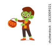 happy cute little kid boy and... | Shutterstock .eps vector #1813009321