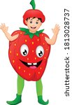 cute boy wearing a strawberry... | Shutterstock .eps vector #1813028737