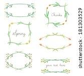 spring watercolor vector frames ... | Shutterstock .eps vector #181303529