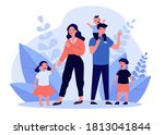 sad parent standing with crying ... | Shutterstock .eps vector #1813041844