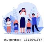 woman having headache and... | Shutterstock .eps vector #1813041967