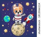 cute cartoon corgi astronaut on ... | Shutterstock .eps vector #1813066114