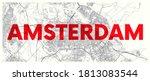 city map amsterdam  detailed... | Shutterstock .eps vector #1813083544
