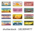 abstract usa states license... | Shutterstock .eps vector #1813094977