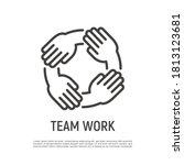 teamwork  hands holding each...   Shutterstock .eps vector #1813123681