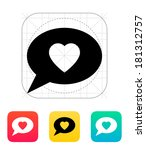 speech bubble with heart icon.