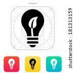 eco light bulb icon on white...