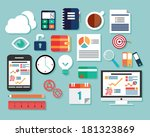 collection of flat design icons ... | Shutterstock .eps vector #181323869